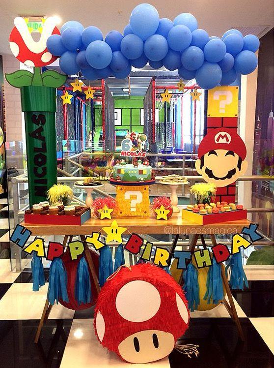decoracion moderna para cumpleaños de mario bros baby