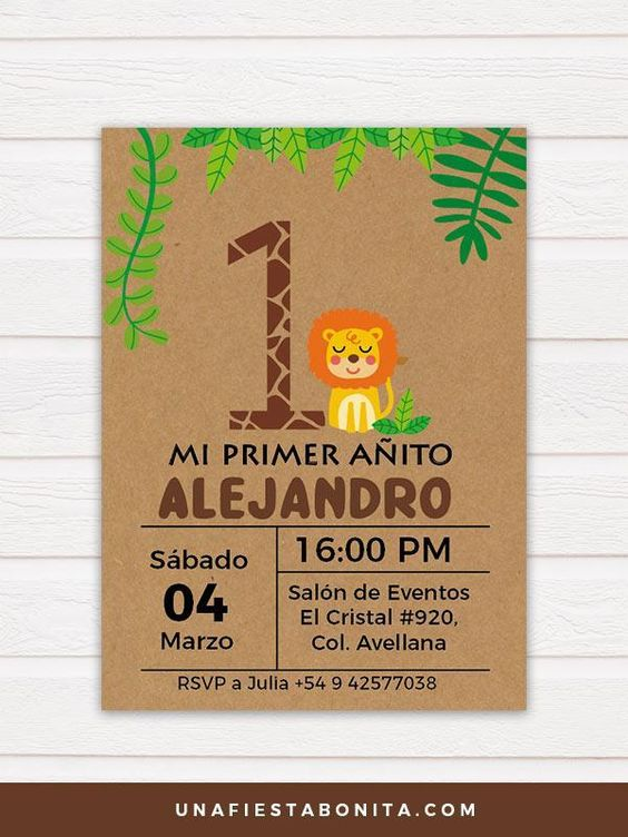 invitaciones para cumple de safari