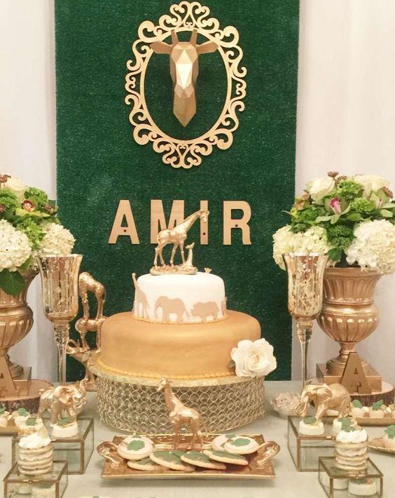 mesa de dulces para fiesta de safari