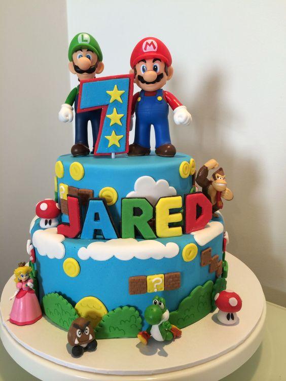 pasteles para una fiesta de mario bros baby