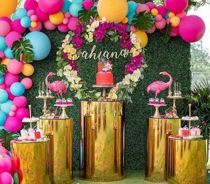 Backdrops para fiesta temática tropical
