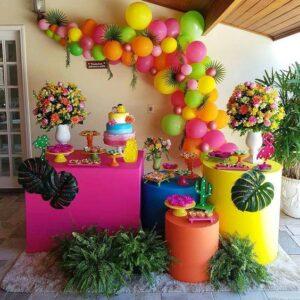 Backdrops para fiesta temática tropical