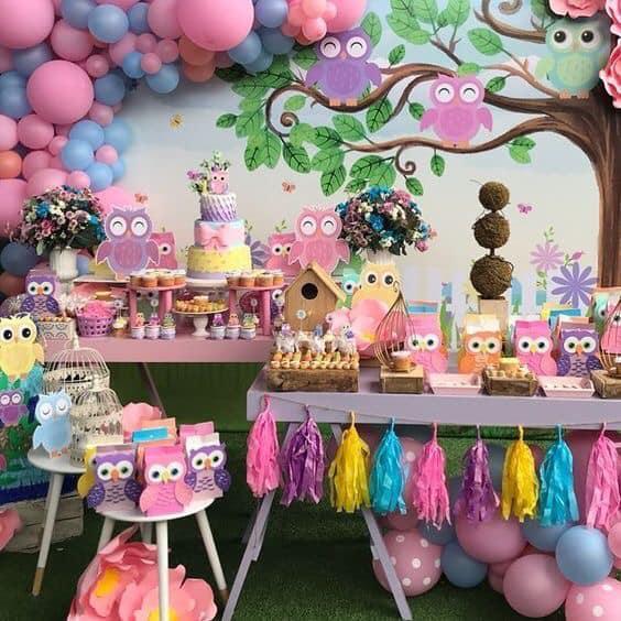 Backdrops para fiestas infantiles temática de buhos
