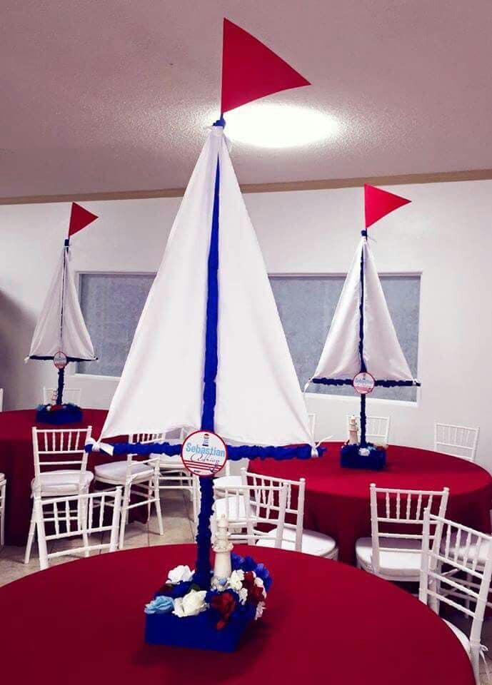 Centros de mesa para fiesta de marinero