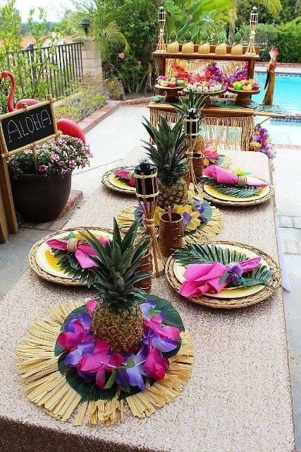 Centros de mesa para fiesta tropical