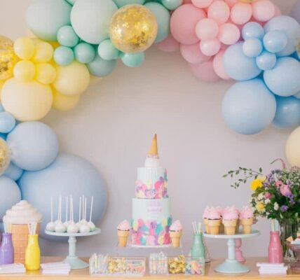 Decoracion con colores pastel para candy bar