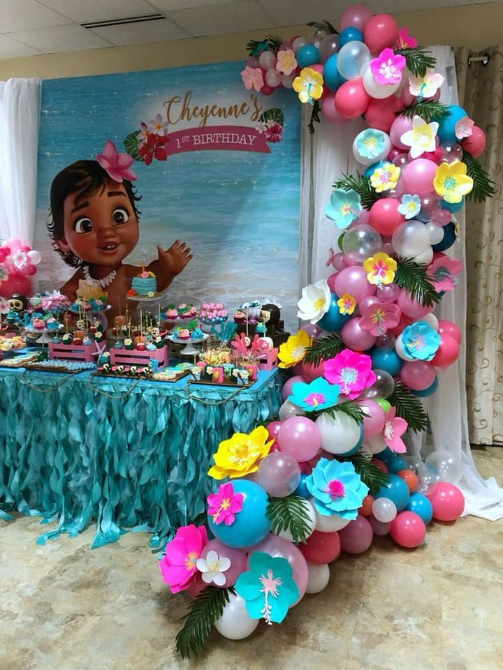 Decoracion de mesa principal fiesta de moana bebe