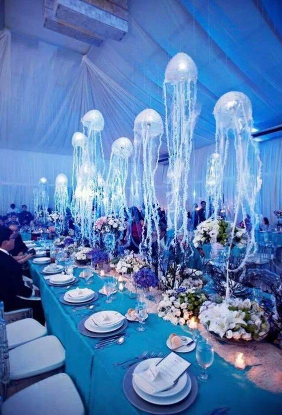 Decoracion del salón para fiesta temática del mar