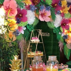 Decoracion del salón para fiesta tropical