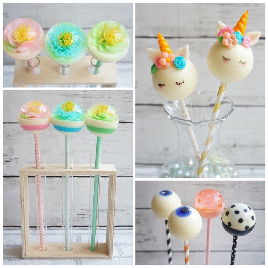 flower jelly pops o cake pops de gelatina artistica decorada