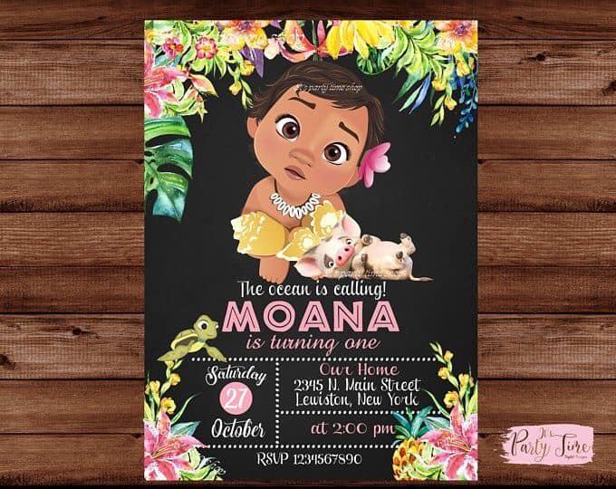 Invitaciones temática moana bebe