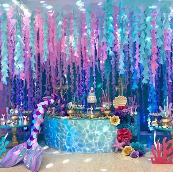 Mesa de postres para fiesta temática del mar