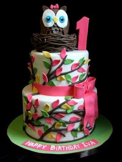 Pastel para fiesta con tema de buhos