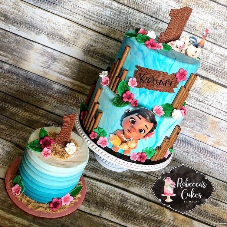 Pastel para fiesta temática de moana bebe