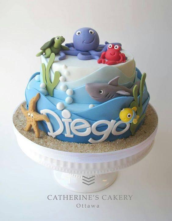Pastel para fiesta temática del mar