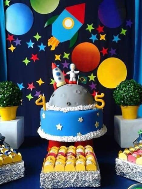 Pasteles para fiesta temática de astronautas