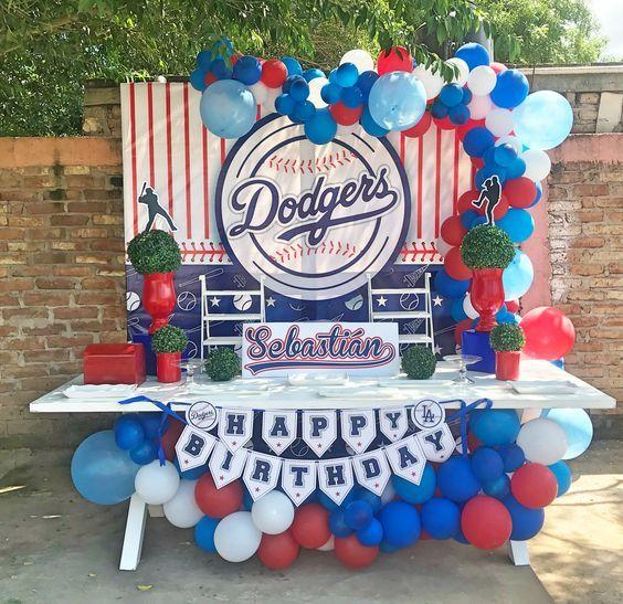decoraciodecoracion con globos para cumpleaños de fiesta de besiboln con globos para cumpleanos de fiesta de besibol