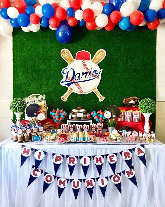 decoracion con globos para cumpleaños de fiesta de besibol