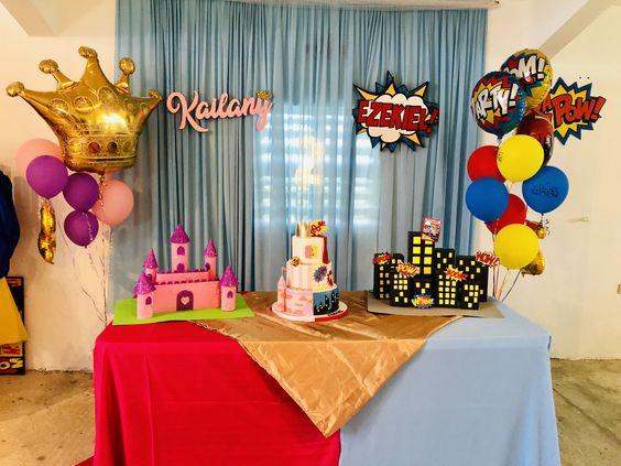 decoracion con globos para cumpleaños de infantil de gemelos