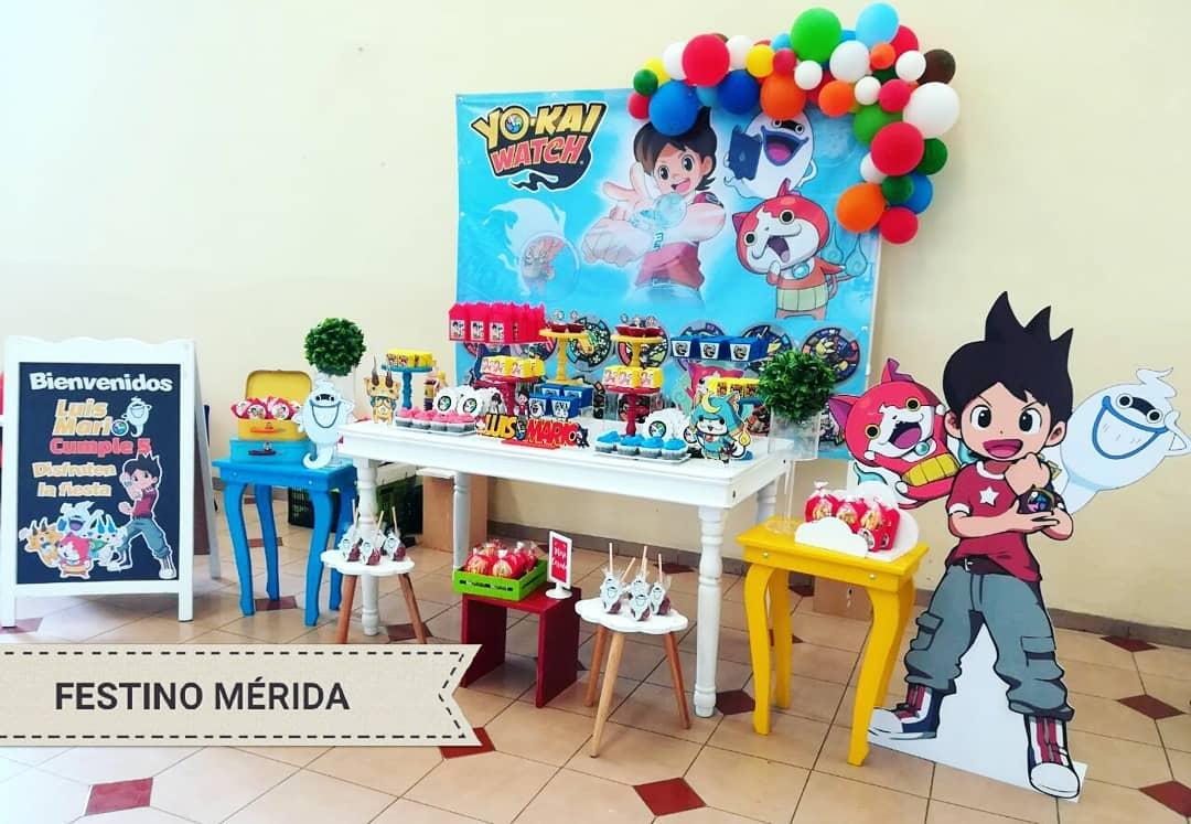 decoracion con globos para cumpleaños de yo kai watch
