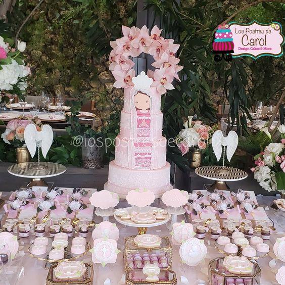 ideas para decorar la mesa del pastel en una fiesta de la virgen de guadalupe
