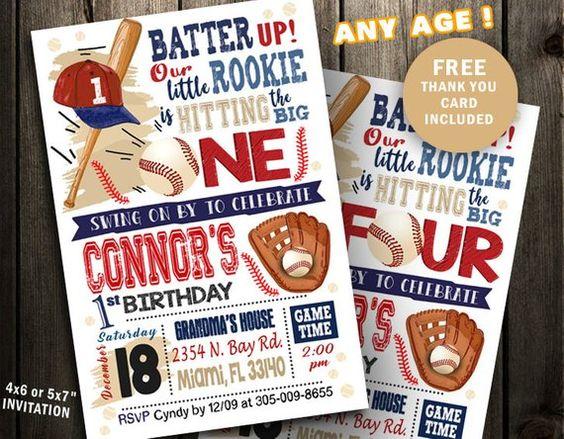 invitaciones para un cumpleaños de beisbol