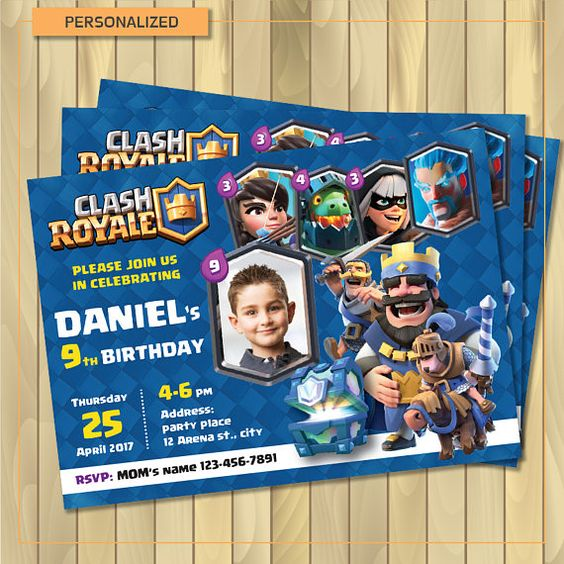 invitaciones para un cumpleaños de clash royale