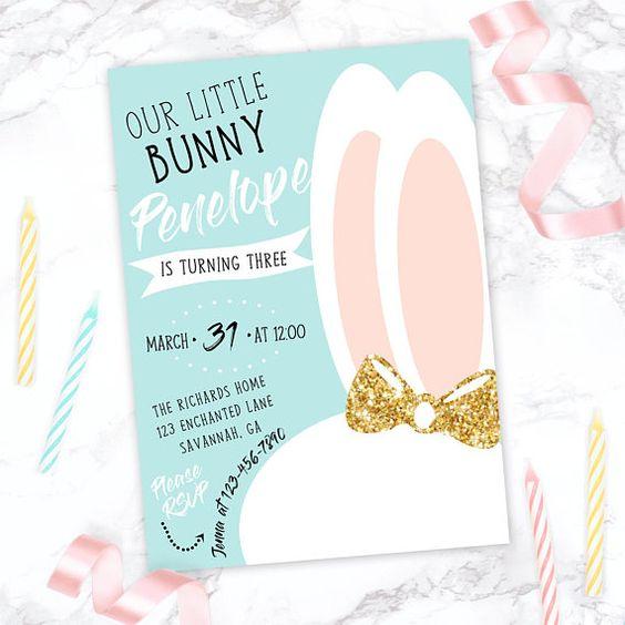 invitaciones para un cumpleaños de conejos
