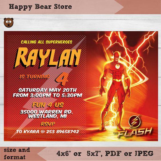 invitaciones para un cumpleaños de flash