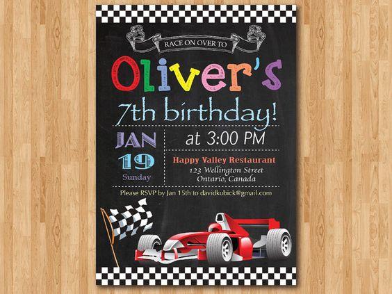 invitaciones para un cumpleaños de formula 1
