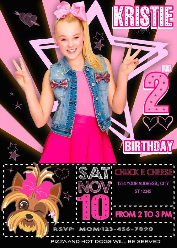 invitaciones para un cumpleaños de jojo siwa