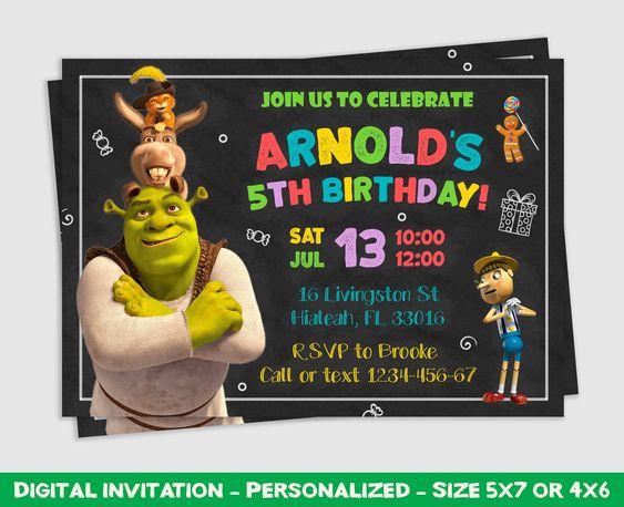 invitaciones para un cumpleaños de shrek
