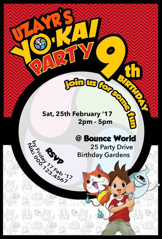 invitaciones para un cumpleaños de yo kai watch
