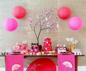Backdrops para fiesta de muñecas Kokeshi