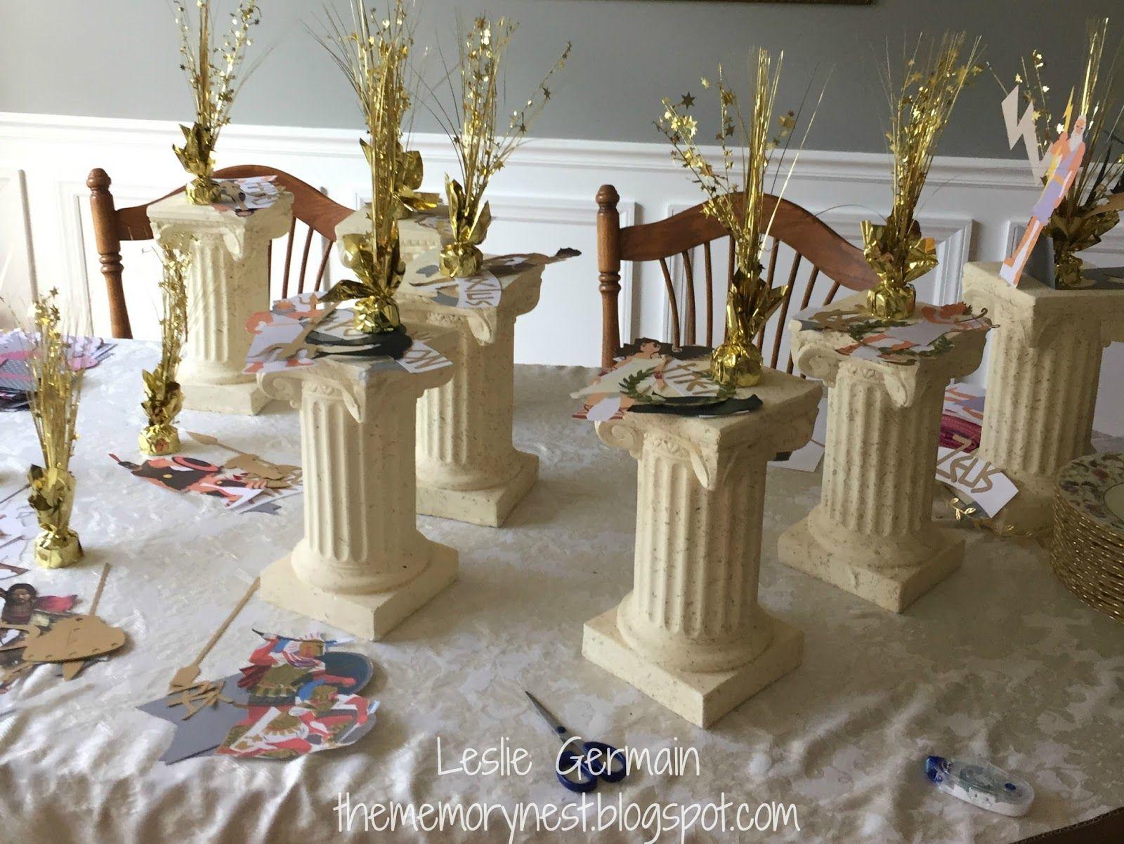 Centros de mesa para una fiesta de la antigua Grecia