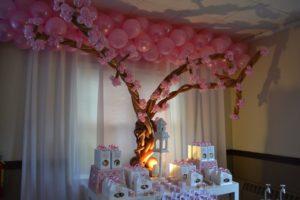 Decoración con globos para cumpleaños de muñecas Kokeshi