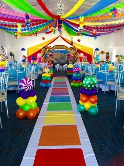 decoración de salón para fiesta infantil candy land