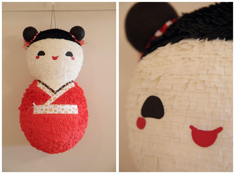 Piñata para un cumpleaños de muñecas Kokeshi