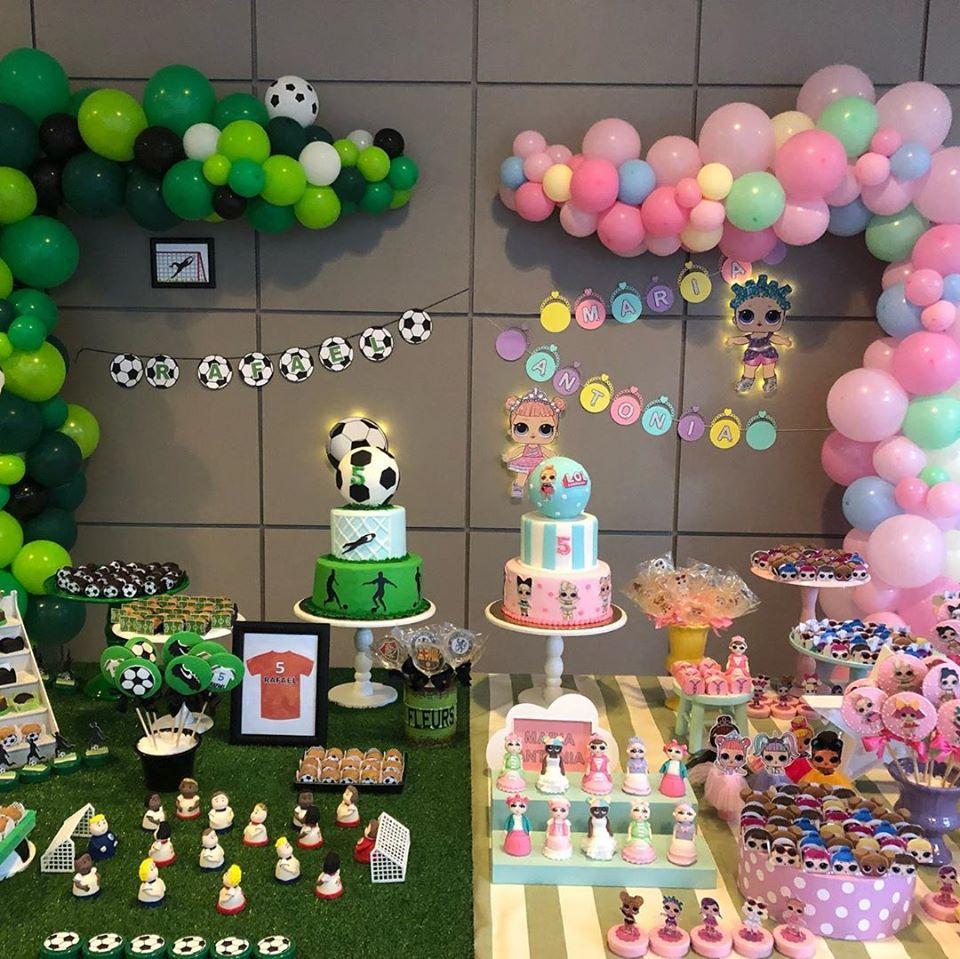 Fiestas de niño y niña de muñecas lol y fútbol