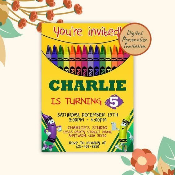 Invitaciones para fiesta de crayones