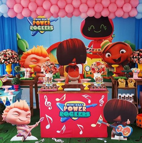 Dulceros para fiesta de mini beat power rockers